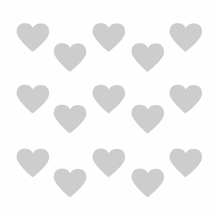 Light grey heart wall stickers on a white background (Regular size)