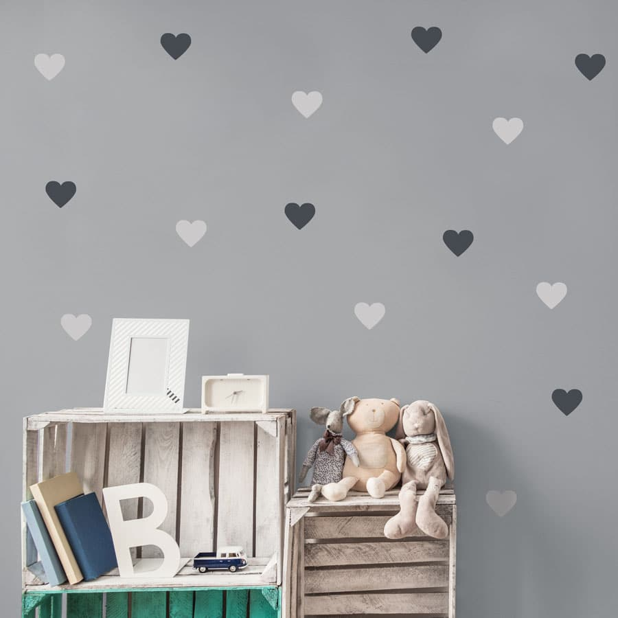 Light grey and dark grey heart wall stickers from our peel and stick collection quick and easy to apply to decorate your childs room.