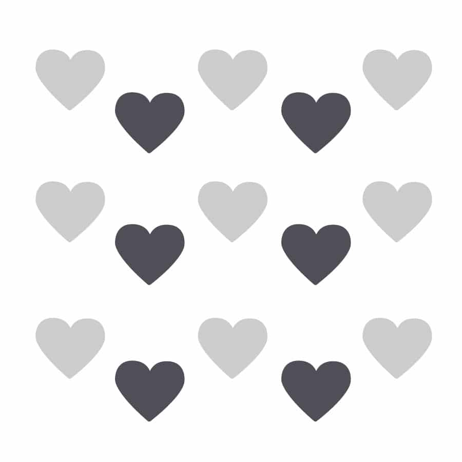 Light grey and dark grey heart wall stickers on a white background (Regular size)