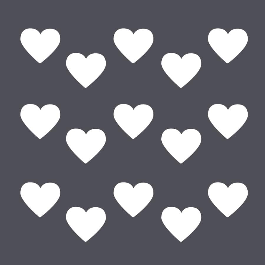 White heart wall stickers on a grey background (Regular size)