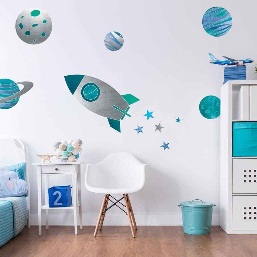 Rocket and planets wall stickers | Space wall stickers | Stickerscape | UK