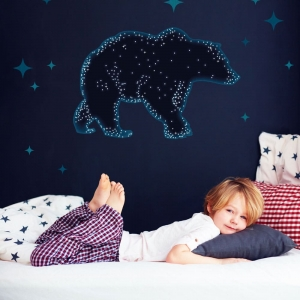 bear constellation wall sticker set with stars for a space themed bedroom