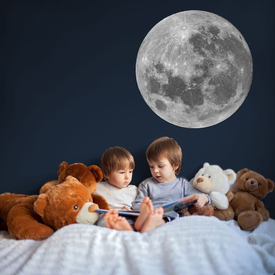 moon wall sticker for a space theme kids bedroom