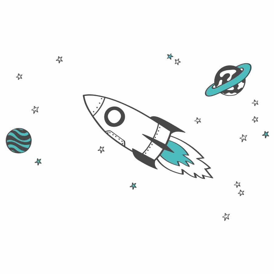 Rocket and stars wall sticker pack | Space wall stickers | Stickerscape | UK