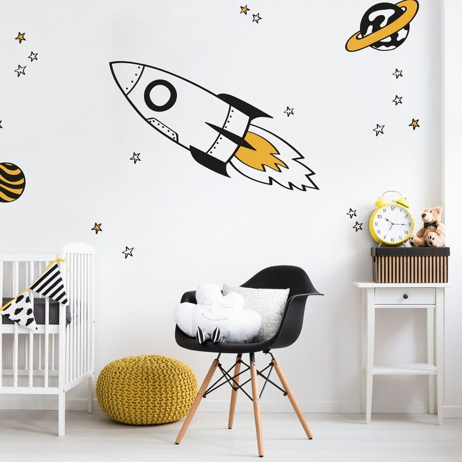 rocket and stars wall stickers with orange accents