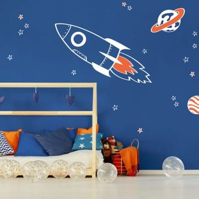 rocket and stars space wall stickers in white and orange accents