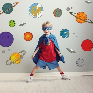 cartoon planet style wall stickers for a childs room