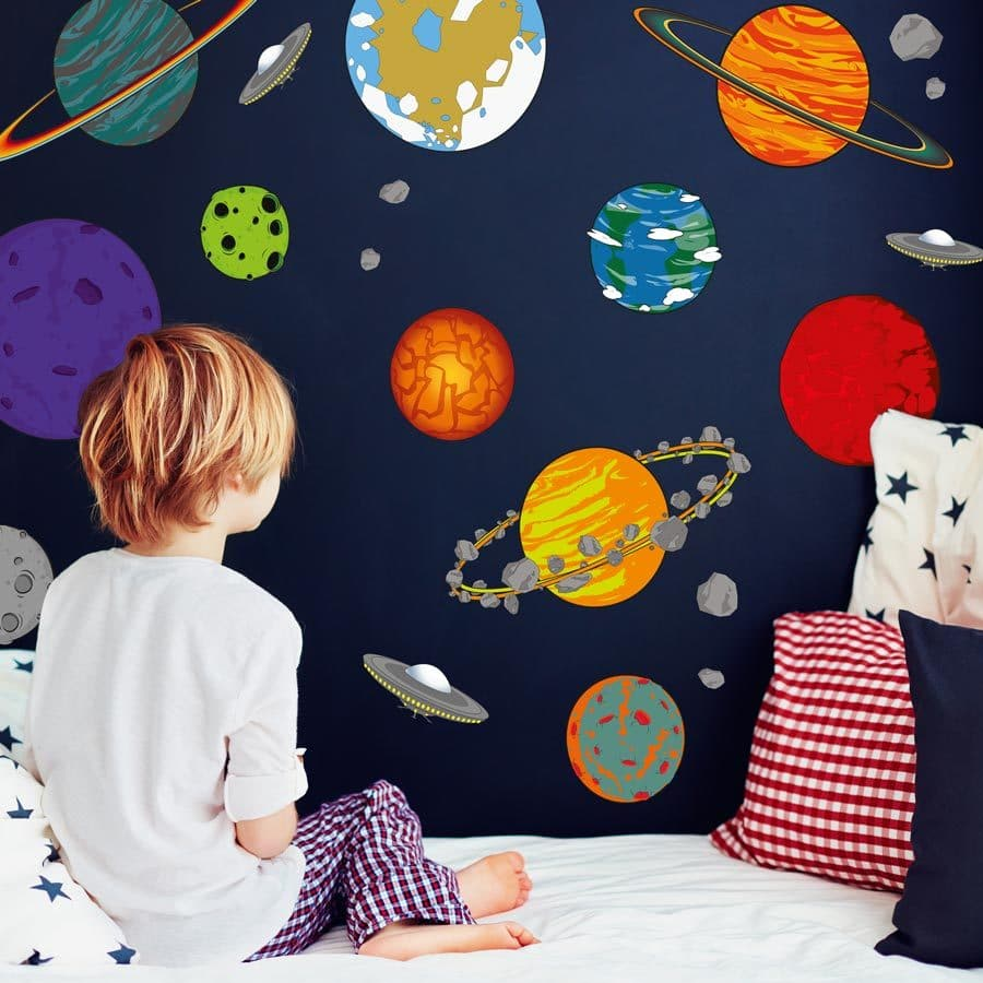 Cartoon planet wall stickers | Space wall stickers | Stickerscape | UK