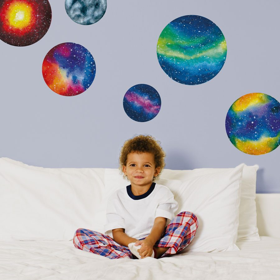 Watercolour planet wall stickers | Space wall stickers | Stickerscape | UK
