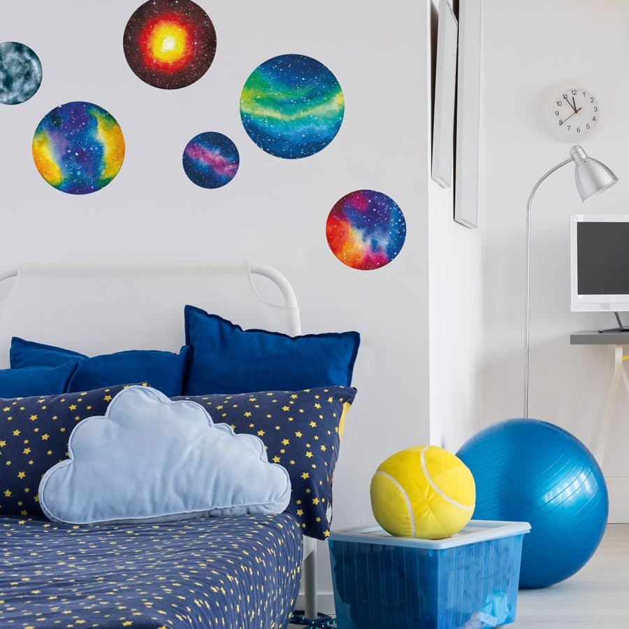 planet wall stickers in a colourful watercolour style