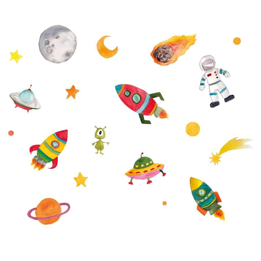 Outer space wall sticker set | Space wall stickers | Stickerscape | UK