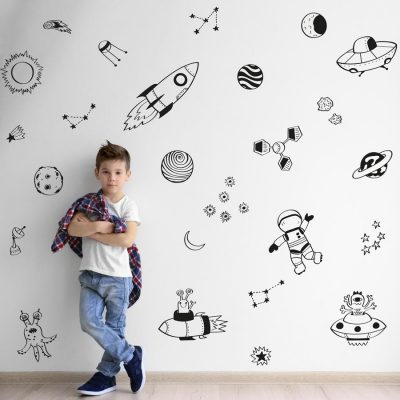 Space doodles wall sticker pack (Black) | Space wall stickers | Stickerscape | UK