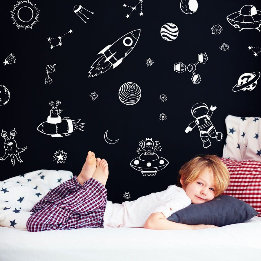 Space doodles wall sticker pack (White) | Space wall stickers | Stickerscape | UK