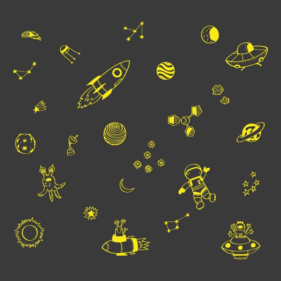 Space doodles wall sticker pack (Yellow) | Space wall stickers | Stickerscape | UK