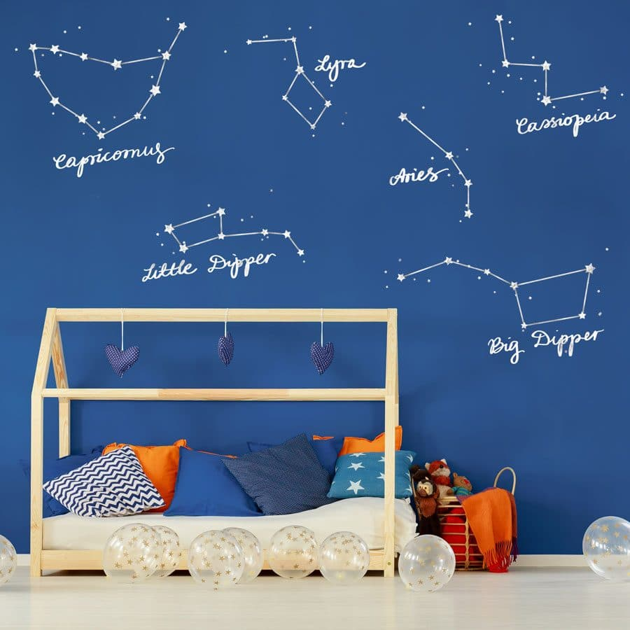 star constellation wall stickers in white