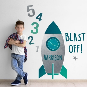 personalised rocket wall sticker including blast off text and numbers in grey and silver