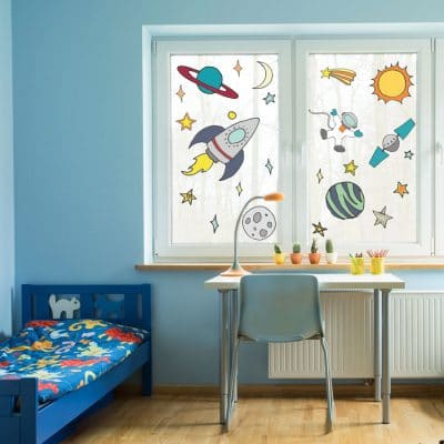 space window stickers including rockets, planets and satellites