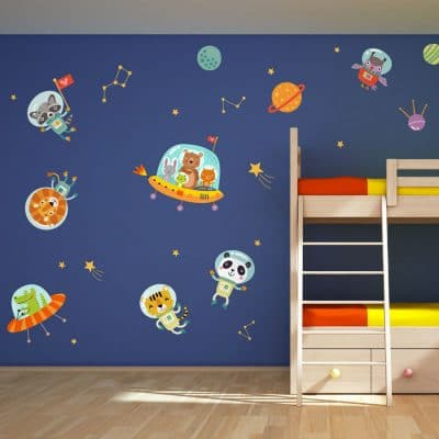Space animals wall stickers perfect for creating a fun space and jungle themed child's bedroom