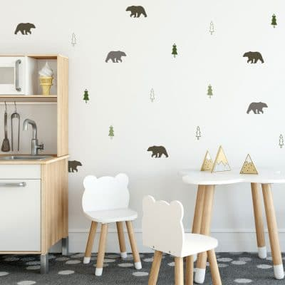 Bear forest wall sticker pack in forest mix perfect for creating a scandinavian forest theme