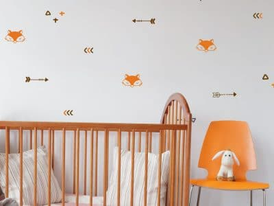Fox and arrows wall stickers in orange - perfect for decorating a nursery or child's bedroom