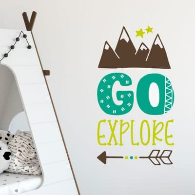 Go explore woodland wall sticker perfect for decorating a contemporary woodland themed bedroom