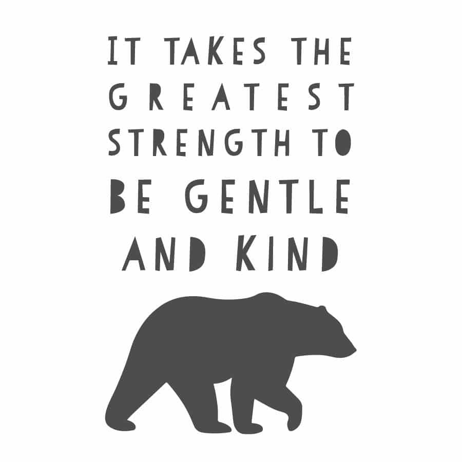 The Greatest Strength wall sticker in charcoal grey on a white background