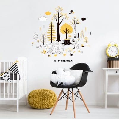 Into the wild wall sticker | Black and yellow contemporary woodland theme wall sticker for a nursery or childs bedroom