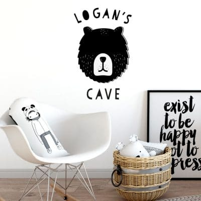 Personalised bear cave wall sticker in black perfect for decorating a child's room