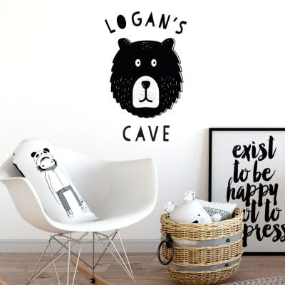 Personalised bear cave wall sticker perfect addition to a woodland themed room