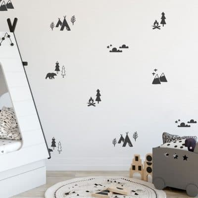 Mountain adventure stickaround wall sticker pack in charcoal grey perfect for a create a contemporary mountain theme in a child's bedroom