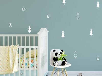 Pine tree forest wall stickers in white perfect for adding woodland accents to a child's room