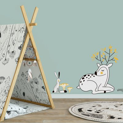 Woodland animal deer and rabbit wall sticker pack with black, yellow and white accents