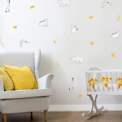 Woodland animal doodles wall sticker pack perfect for creating a contemporary woodland theme in a child's room