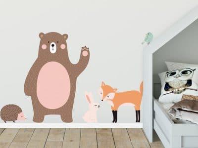 Scandi woodland animal wall stickers featuring a bear, fox, rabbit, hedgehog and bird