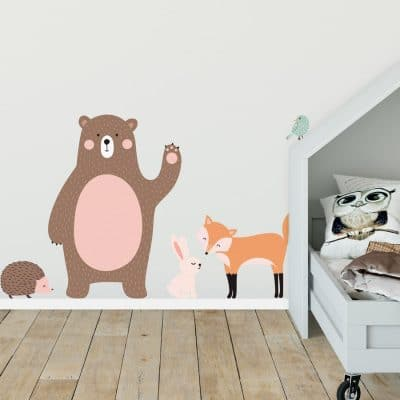 Scandi woodland animal wall stickers featuring a bear, fox, rabbit, hedgehog and bird