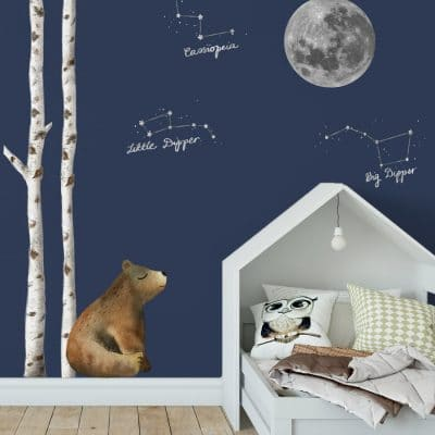 Woodland night sky wall sticker pack perfect for transforming a child's bedroom with a Scandi woodland theme