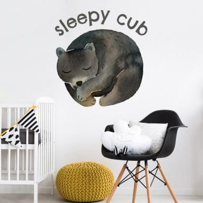 Sleepy cub wall sticker perfect addition to adding a contemporary woodland theme to your child's room
