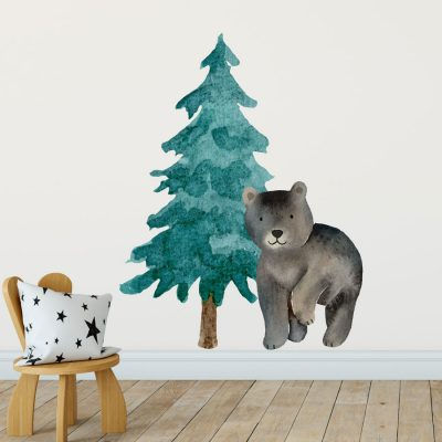 Forest bear wall sticker (Option 1) perfect for creating a woodland themed scandi children's room