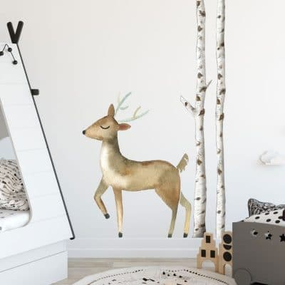 Watercolour tree and animal wall sticker featuring a deer in a Scandi style perfect for creating a woodland themed bedroom