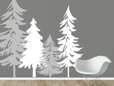 Woodland tree silhouette wall stickers in light grey and white perfect for creating a contemporary woodland themed room