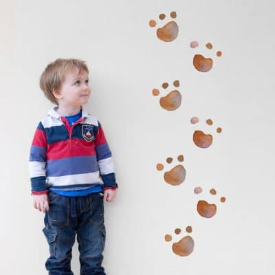 Bear paw print wall stickers perfect for adding a fun woodland theme to your child's bedroom