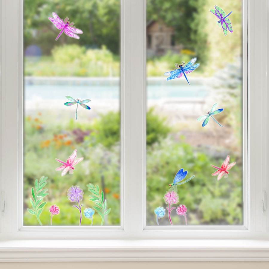 Spring dragonfly window stickers perfect for decorating your home with during Spring time
