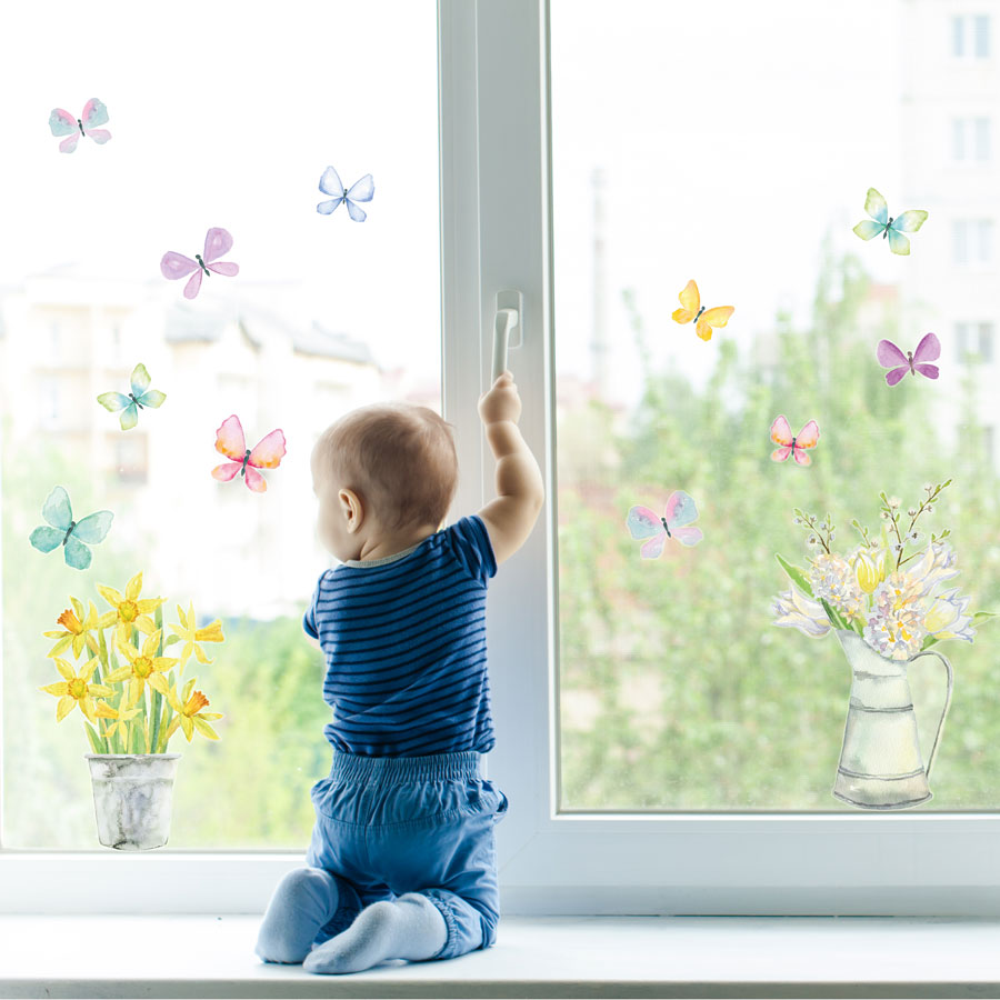Spring flowers window stickers perfect for decorating your home with during Spring time