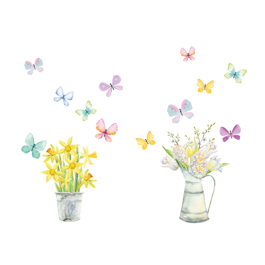 Spring Flowers window stickers on a white background