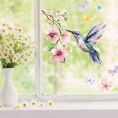 Hummingbird and butterflies window stickers perfect for decorating your home with during Spring time