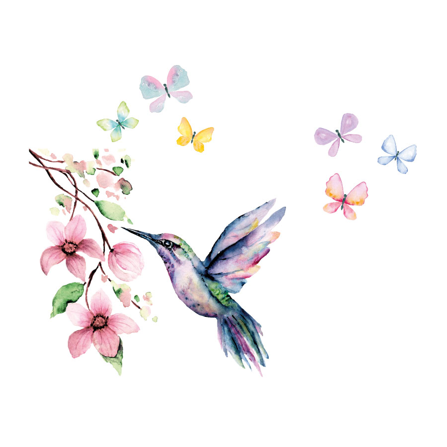 Hummingbird and butterflies window stickers on a white background
