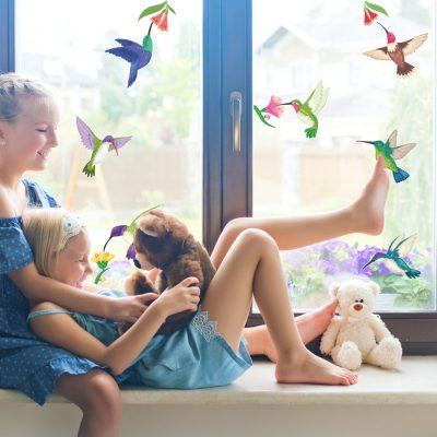 Hummingbird and flowers window stickers perfect for decorating your home with during Spring time