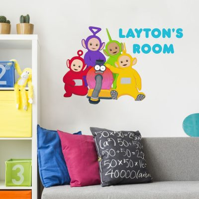 Personalised Teletubbies wall sticker (Large size) perfect for decorating your child's room with personalised Teletubbies decor
