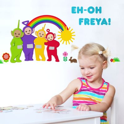 Personalised Teletubbies with rainbow wall sticker (Regular size) perfect for decorating your child's room with a personalied Teletubbies theme