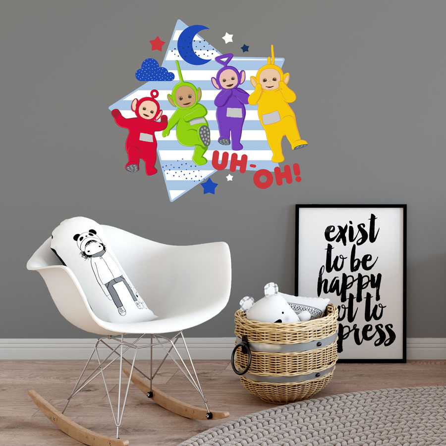 Teletubbies with star wall sticker (Large size) perfect for decorating your child's bedroom with a Teletubbies theme